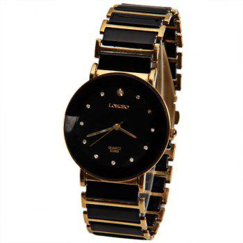 Longbo Quartz Watch with Diamond Dots Indicate Steel and Plastic Watchband for Women