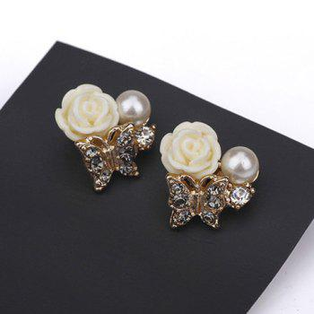 Pair of Resin Flower Butterfly Shape Faux Pearl Stud Earrings