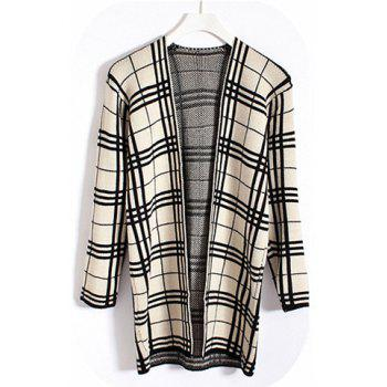 Women's Checked (Triangle Pattern) Loose Fit Long Sleeves Cardigan