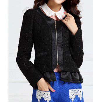 Cute Scoop Neck Flounce Hem Polyester Women's Jacket