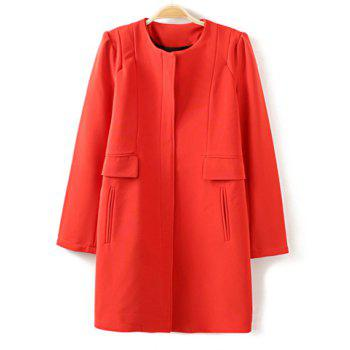 Elegant Round Neck Solid Color Long Sleeve Pocket Embellished Coat For Women