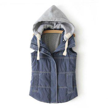 Women's Slim Fit Color Matching Double Pockets Hooded Vest