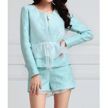 Mesh Splicing Polyester Elegant Scoop Neck Women's Jacket