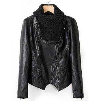 Fashionable Knitted Long Sleeve Turn-Down Collar Black Leather Jacket For Women