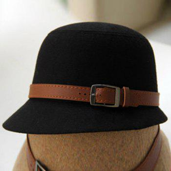 Chic Style Belt Shape Design Solid Color Bucket Hat - BLACK BLACK