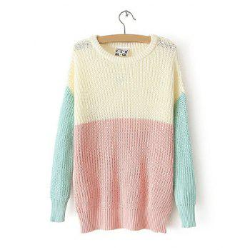 Stylish Round Collar Color Block Long Sleeves Loose-Fitting Women's Sweater