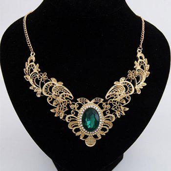 Faux Gem Decorated Openwork Flower Carved Necklace