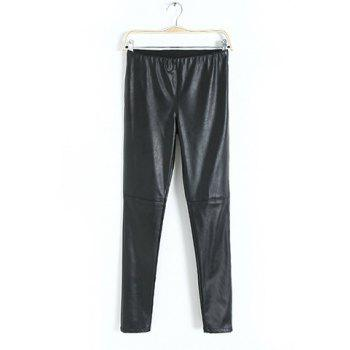 Fashionable Elastic Waist Narrow Feet Skinny Flocking Thickened PU Leather Black Women's Leggings