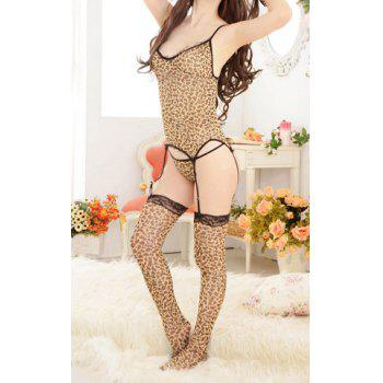 Women's Polyester Color Matching Low-Cut Backless Leopard Pattern Alluring Lingerie Corset With Garter