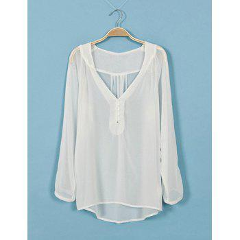 Simple V-Neck Button Embellished See-Through Asymmetrical Hem Pleated Women's Shirt - S S