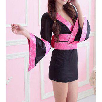 Women's Polyester Color Matching Stitching Bow Tie Waistband Beam Waist Kimono Alluring Cosplay Custume