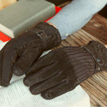Pair of Simple Warming Patchwork Winter Gloves For Men
