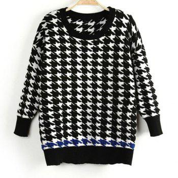 Casual Round Collar Houndstooth Pattern Color Splicing Long Sleeves Women's Sweater
