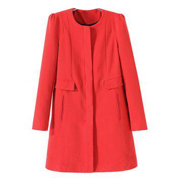 Modern Round Collar Solid Color Zipper Pleated Shoulder Long Sleeves Women's Overcoat