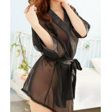 Women's Chiffon Solid Color Off Breast Strappy Bow Tie Beam Waist See-through Alluring Baby Doll