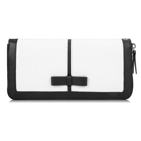 Elegant Color Block and Bow Design Clutch Wallet For Women - WHITE