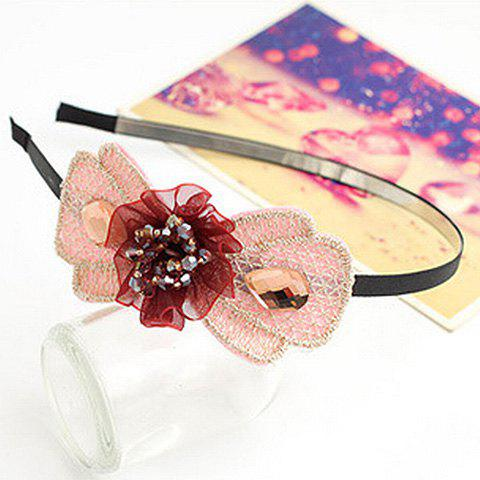 Chic Beaded Solid Flower and Lace Embellished Hairband For Women