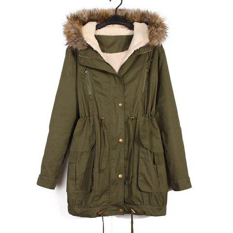 Fashionable Faux Fur Hooded Zipper Single-Breasted Pockets Army Green Camofleece Cotton Overcoat For Women - ARMY GREEN M