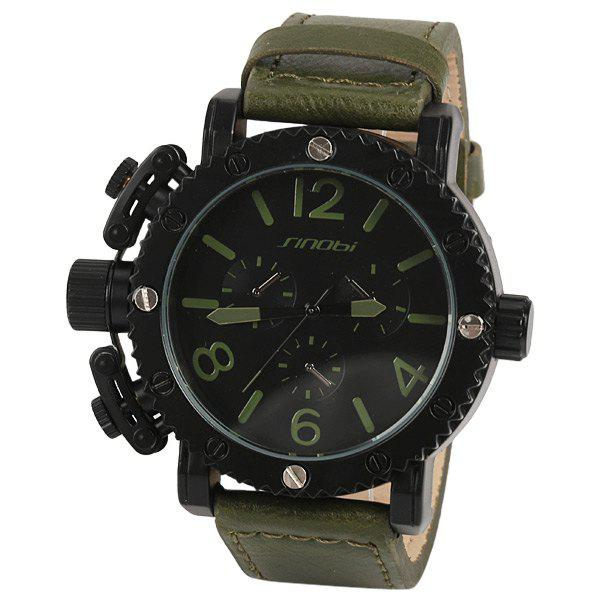 Sinobi Quartz Watch with Numbers and Cylinders Indicate Leather Watch Band for Men - Army Green - ARMY GREEN