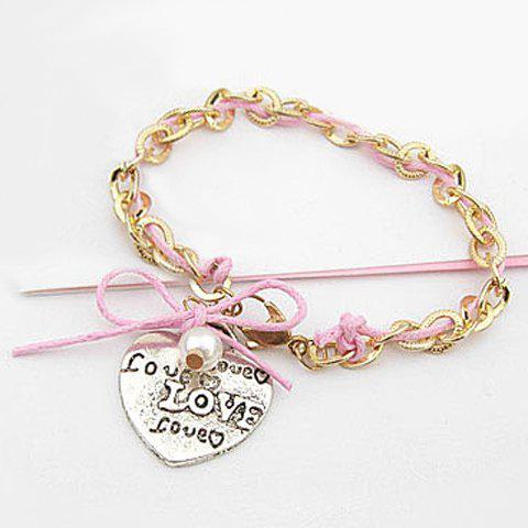 Chic Style Bowknot & Heart Shape Design Love Print Bracelet - COLOR ASSORTED