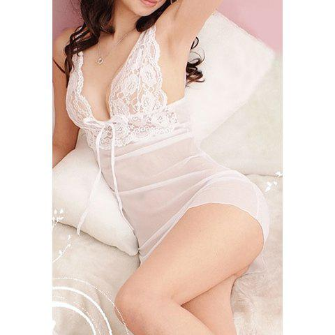 Alluring Women's Strappy Lace Bowknot Translucent Pajamas - WHITE ONE SIZE