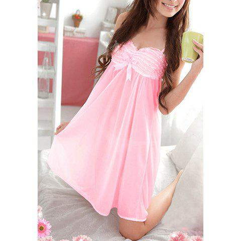 Sweet Style Spaghetti Strap Lace Pleated Bowknot Decorated Nylon Women's Nightdress