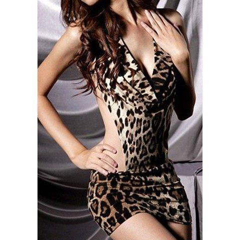 Halterneck Hollow Waisted Design Cotton Blend Leopard Dress