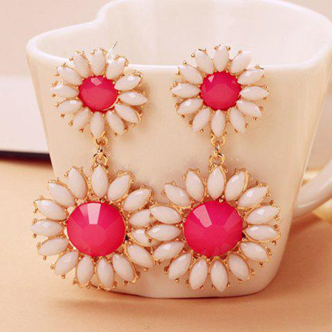Faux Gem Daisy Shape Drop Earrings - ROSE