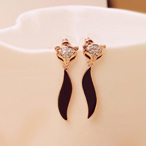 Pair of Rhinestone Embellished Fox Shape Earrings - BLACK