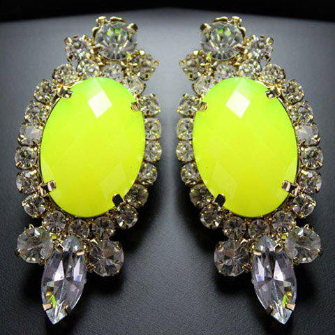 Pair of Fashion Colored Faux Gemston Embellished Diamante Pendant Earrings For Women