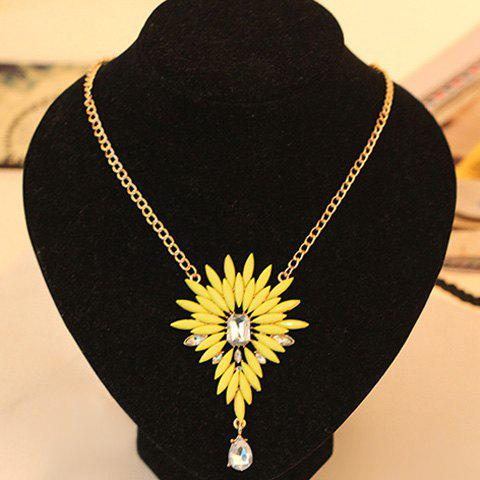 Exquisite Colored Faux Gemstone Embellished Flower Shape Pendant Alloy Necklace For Women