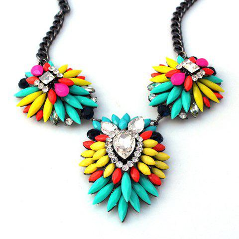 Cute Iridescent Color Faux Gemstone Embellished Pendant Necklace For Women - COLORMIX