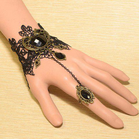 Gothic Faux Gemstone Embellished Carved Design Wide Lace Charm Bracelet For Women - BLACK ONE SIZE
