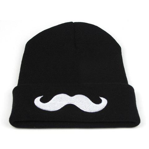 Chic Style White Moustache Print Warm Beanie Hat - BLACK ONE SIZE
