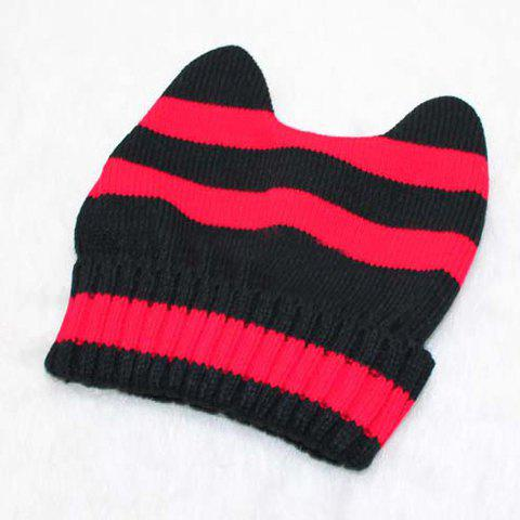 Sweet Oxhorn Shape Stripe Warm Beanie Hat - COLOR ASSORTED ONE SIZE