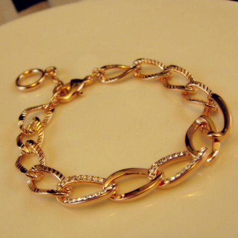 Simple Rhinestoned Alloy Chain Bracelet - GOLD
