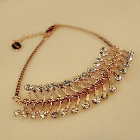 Rhinestoned Leaf Shape Alloy Bracelet - GOLD