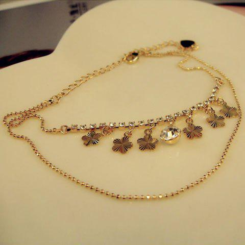 Chic Wintersweet Flower Pendant Diamante Multi-Layered Alloy Anklet For Women - GOLD