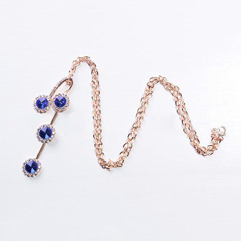 Fashion Diamante Colored Faux Crystal Pendant Necklace For Women - BLUE