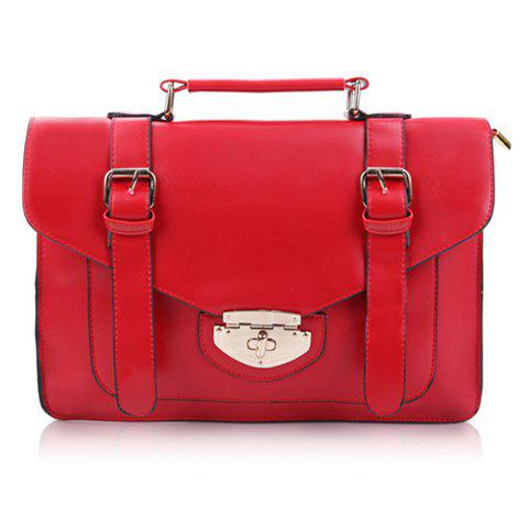 Vintage Solid Color and Buckle Design Tote Bag For Women - WINE RED