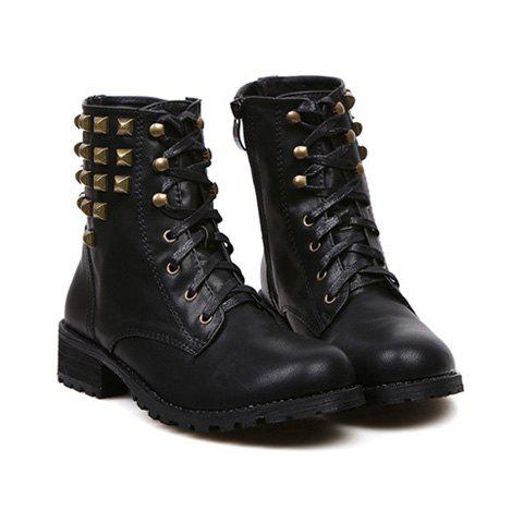Excellent New Womens IM26 Black Studded Spike Mid Calf Military Combat Boots Sz