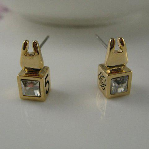 Pair of Bunny Head Embellished Faux Crystal Earrings - GOLD