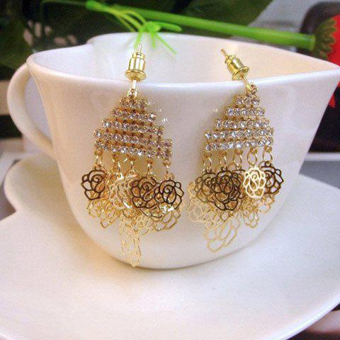 Pair of Chic Hollow Rose Pendant Diamante Layered Earrings For Women - GOLD
