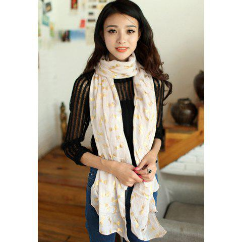 Sweet Golden Bowknot Pattern Solid Color Scarf - BEIGE