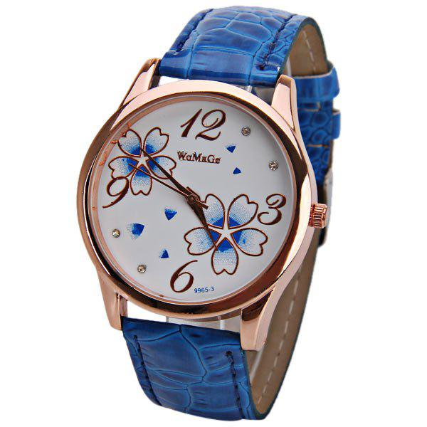 No.99653 Quartz Watch with Numbers and Dots Indicate Leather Watch Band Flower Pattern Dial for Women - Blue - BLUE