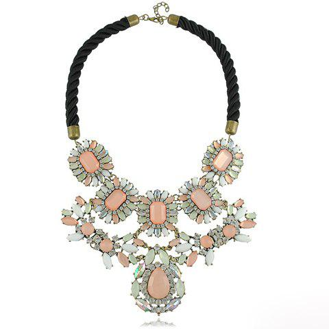 Exaggerated Flower Shape Pendant Design Rope Necklace - AS THE PICTURE