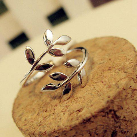 Simple Curved Leaf Shape Alloy Ring For Women