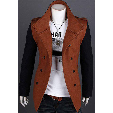 Korean Fashionable Style Turn Down Collar Color Block Long Sleeves Double-Breasted Woolen Coat For Men - BROWN M