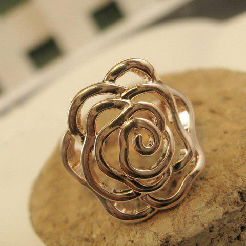 Fashion Big Hollow Rose Embellished Alloy Ring For Women