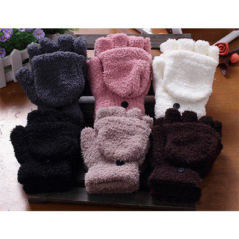 Pair Of Sweet Cashmere Hooded Winter Gloves With Exposed Fingers - COLOR ASSORTED